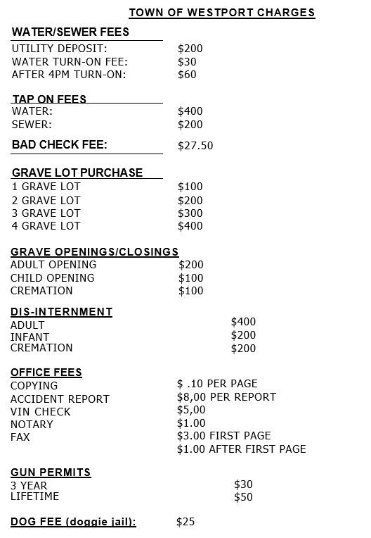 Westport Misc Fee Charges